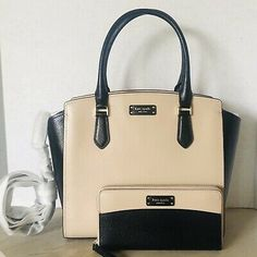 Kate Spade Jeanne Medium Satchel Warm Beige Black with Wallet SET Passport Holder Wallet, Kate Spade Cameron Street, Fashion Bags, Women's Fashion, Satchel, Black Leather, New York, Beige, Warm