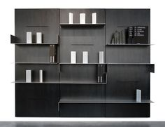 Contemporary metal modular bookcase IWALL by Maurizio Peregalli ZEUS