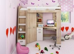 Piętrowe łóżko dziecięce ANTRESOLA Lewa z szafą i biurkiem - Nowość