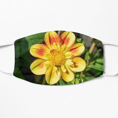 Yellow Dahlia Floral Face Covering - #facemasks #masks #facecoverings #findyourthing
