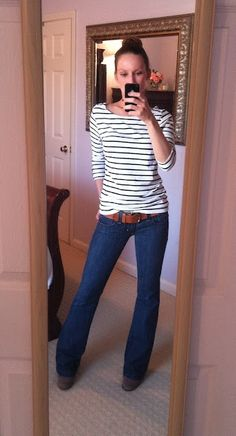 stripes + bun + belted jeans