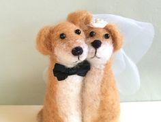 Needle felted dog wedding cake topper dog cake topper by Felt4Soul