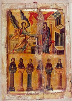 Annunciation and six Stylite Saints · The Sinai Icon Collection Byzantine Icons, Byzantine Art, Typical Russian, Constantine The Great, Ottoman Turks, European Paintings, Icon Collection, Illuminated Manuscript, Roman Empire