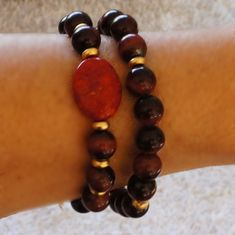 Tiger eye Coral bracelet  adjustable by CharmByIA on Etsy, $25.00
