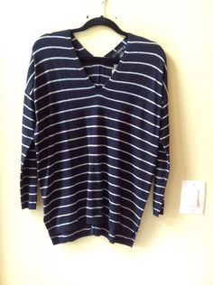 NWT ANN TAYLOR PETITE MULTI-COLOR STRIPED WOOL BLEND LONG SLEEVE SWEATER SIZE SP #AnnTaylor #VNeck