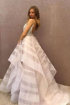 Chic A-Line Scoop Tulle Sparkly Beading Ball Gown Asymmetrical Backless  Prom Dresses PW302 37eae748940b