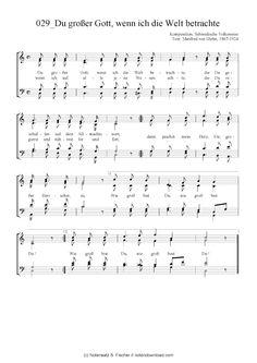 Du großer Gott, wenn ich die Welt betrachte (Gemischter Chor) Komposition, Schwedische Volksweise / Manfred von Glehn, 1867-1924 >>> KLICK auf die Noten um Reinzuhören <<<
