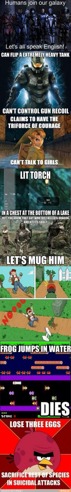 Video game logic, for the first one though there is an explaination, the have language translators in their suits, so they think you're speaking their language and you think they're speaking yours