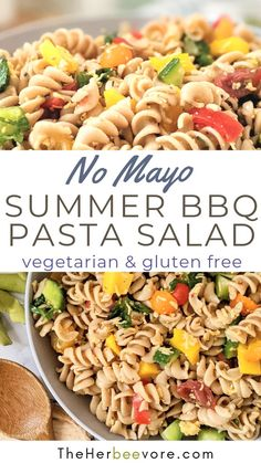 This is a perfect Summer BBQ Pasta Salad to bring to a cookout, tailgate, potluck, or brunch! Loaded with veggies and easy to make ahead – this is one crowd pleaser pasta salad that everyone will want seconds of! Vegetarian high protein and gluten free pasta salad recipes!