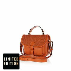 Orange leather snake satchel - satchels - bags / purses - women
