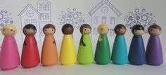 Wood peg doll set of 9 little rainbow dolls  Hand by BusyBeingMe / 27+