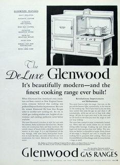 1933 Glenwood Gas Ranges Advertising Retro 1930s Gas Stove | Etsy Vintage Kitchen Appliances, Retro Kitchen Decor, Vintage Advertisements, Vintage Ads, Appliance Reviews, Large Oven, Dollhouse Ideas, Gas Stove, Designs To Draw