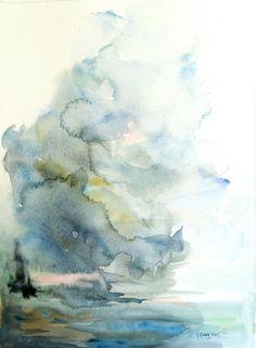 "Original Watercolor Abstract Seascape Skyscape Landscape 9x12 ""Arise"""