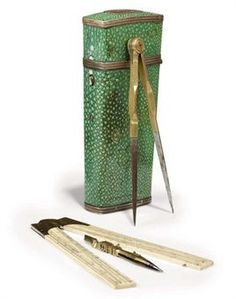 BRASS AND IVORY DRAFTSMAN'S SET CONTAINED IN A SILVER-MOUNTED SHAGREEN ETUI  BY T. RUBERGALL OF COVENTRY STREET, LONDON, CIRCA 1820