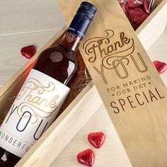 Personalised Wedding Gift Box With Wine And Chocolates - Thank You