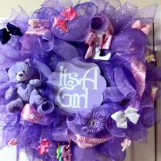 purple deco mesh baby shower girl wreath. $85.00, via Etsy.
