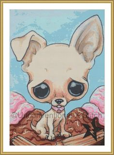 Chihuahua dog cross stitch pattern  Licensed by UnconventionalX