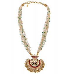 Silver Gold Plated Colored Glass Pearl Necklace