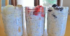Overnight Oats Peanut Butter and Banana; Strawberries and Cream; Blackberry-Almond; YUM!!