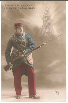 WW1 French Soldier Postcard Hand Colored Tinted