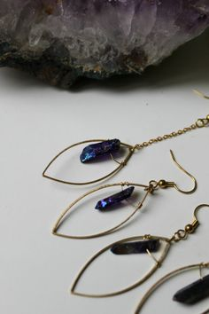 ※ Tiny purple quartz earrings on a leaf shape.  ※ You can choose two size : short or long with a chain (4 cm ).  ※ Total lenght for short : 4 cm for