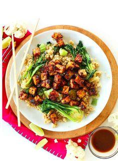 Crispy Peanut Tofu & Cauliflower Rice Stir Fry