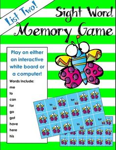Sight Word Matching Game for Whiteboard or Computer from Mrs. Molly's Menagerie on TeachersNotebook.com -  - Sight word matching game that is a great way to incorporate technology into the classroom. Students will love this match game that reinforces sight words!