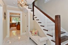 Traditional Staircase with Ms international sugar beige marble, Floating staircase, Hardwood floors