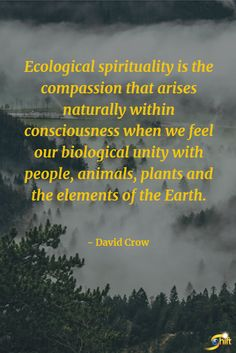 """""""Ecological spirituality is the compassion that arises naturally within consciousness when we feel our biological unity with people, animals, palnts and the elements of the Earth.""""   - David Crow  #inspiration #InspirationalQuotes #motivationalquotes #PlantPower #DavidCrow  http://theshiftnetwork.com/?utm_source=pinterest&utm_medium=social&utm_campaign=quote"""