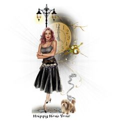 """""""♥ Dolly says 🔔""""Happy New Year!""""🔔"""" by catfabricsandbuttons ❤ liked on Polyvore featuring art"""