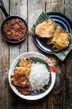Smashed chicken / Ayam penyet. Chickens are marinated in spices and then steamed and air-fried and served with spicy sambal