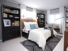 Contemporary Bedroom on a Budget >> http://www.hgtv.com/decorating-basics/sabrinas-best-high-to-low-makeovers/pictures/page-20.html?soc=pinterest