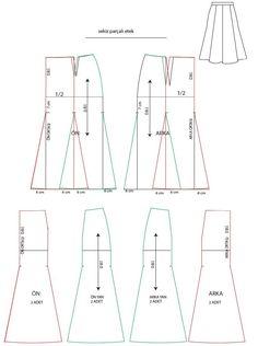 İşlem basamakları 1.Kalça genişliği iki eşit parçaya bölünür. 2. kalça hattından 7 cm aşağı işaretler alınır 3.her parça etek ucund...
