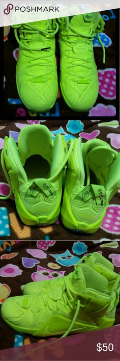 Lebron Xll EXT Nike basketball shoes Neon green or yellow  can be worn by male and female. Nike Shoes Athletic Shoes