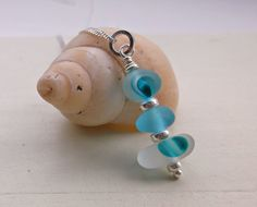 Turquoise End Of Day Stacked Seaglass Sterling by SeahamWaves