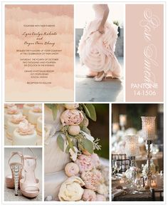Pantone Rose Smoke Inspiration Board -- this is my second color. Red Rose, black, white and silver and this beautiful soft pink. It's a Sweetheart Theme.