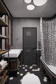 A conceptual apartment - dark and industrial - desire to inspire - desiretoinspire.net - Denis Krasikov - hexagon tile floor