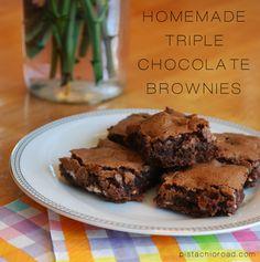 Homemade triple chocolate brownies -yum!