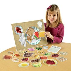 Introduce children to the concept of the 5 food groups and healthy meal planing with this set of magnetic, illustrated foods. Set comes with 33 magnetic pieces, write-on/wipe-off magnetic placemat and menu pad. Also includes suggested activities that will reinforce children's learning about this important subject, setting them on the road to a lifetime of healthy food choices.