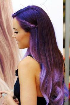 Brunette, violet, purple, lilac hair fade