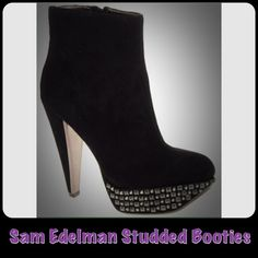 Sam Edelman Studded Booties These Sam Edelman Studded Booties are awesome! As a teacher, I wore the pump version of this style...I'm not exaggerating when I say that EVERY time I wore them parents of students I did not know would stop me leading my class into our room to ask about these shoes. I have never received more compliments on anything in my entire life than I did with these shoes (so of course I bought them in every color, but that's a different story)!  They look tall, but were my…