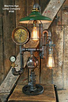 Steampunk Lamp, Steam Gauge and Green Shade #198