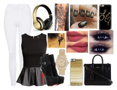 """""""Love <3"""" by aaliyahsalmon ❤ liked on Polyvore featuring Topshop, H&M, Christian Louboutin, Beats by Dr. Dre, Casetify, Forever 21, Yves Saint Laurent and Rolex"""