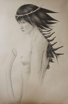 Universal Being  (gender vanished from my sight) series. Tittle : The trembling sensation with which she is preparing to depart. Media : graffito on paper. Size : 110 x 55 cm. Year of created : 2013. By Arturo Coria Altamirano.