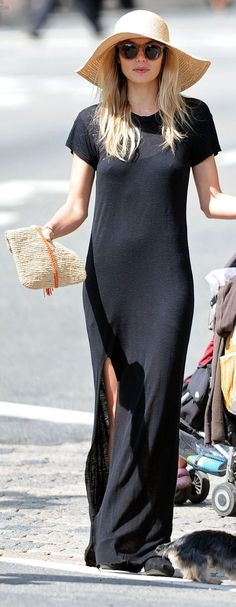 Black Thigh Split Maxi Length Tee Dress