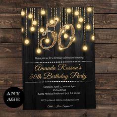 Gold 50th birthday invitations  50th by DIYPartyInvitation on Etsy  #goldandblack #partyideasforaults #partyideas