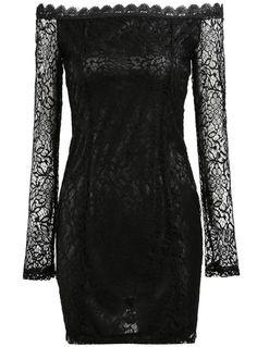 Black Off the Shoulder Hollow Lace Dress