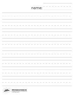 printable handwriting paper kindergarten
