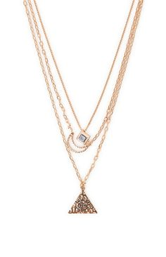With Love From CA 3 Layer Moon Evil Eye Necklace #pacsun ~~ http://shoppingpromenade.com/