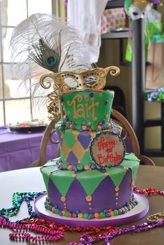 First Birthday Cake.  Mardi Gras Theme